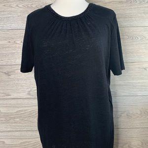 Maje Black 100% Linen Top Sz 3 Decorative neckline
